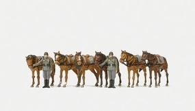 Preiser German WWII Soldiers Holding Standing Draft Horses Model Railroad Figures HO Scale #16597