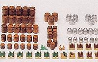 Preiser Beer Barrels & Crates with Bottles Model Railroad Building Accessory HO Scale #17105