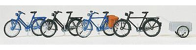 Preiser Kg Bicycles with Trailer Kit -- Model Railroad Building Accessory -- HO Scale -- #17161