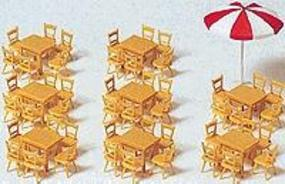 Preiser Tables & Chairs with Umbrella Model Railroad Building Accessory HO Scale #17201