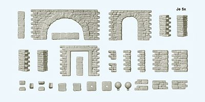 Preiser Quarrystone Walls, Doorways, Arches & Corner Posts Model Railroad Scenery HO Scale #18217