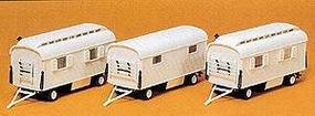 Preiser Modern Circus Performers Trailers (3 Pack) HO Scale Model Railroad Vehicle Kit #20005