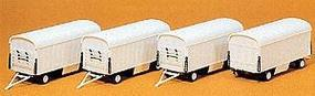 Preiser Modern Circus Equipment Wagons (4 Pack) Undecorated HO Scale Model Railroad Vehicle Kit #20006