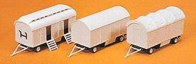 Preiser Modern Circus Equipment Carriers (3 Pack) HO Scale Model Railroad Vehicle Kit #20008