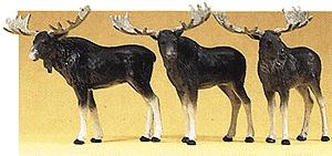 Preiser Kg Moose (3) -- Model Railroad Figures -- HO Scale -- #20393