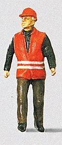 Preiser Modern Switchman with Safety Vest Model Railroad Figure HO Scale #28008