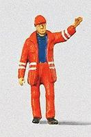 Preiser Modern Switchman with Safety Uniform and Raised Arm Model Railroad Figure HO Scale #28009