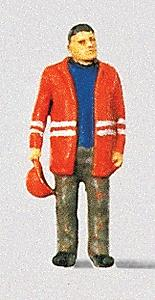 Preiser Modern Switchman with Safety Jacket and Hat Off Model Railroad Figure HO Scale #28010