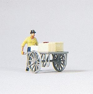 Preiser Man with Cart Model Railroad Figure HO Scale #28036