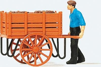 Preiser Worker Pushing Handcart with Load of Barrels Model Railroad Figure HO Scale #28131