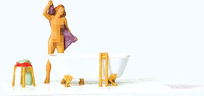 Preiser Nude Woman & Bathtub Model Railroad Figure HO Scale #28159