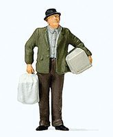 Preiser Man Walking with Bird Cage Model Railroad Figure HO Scale #28160