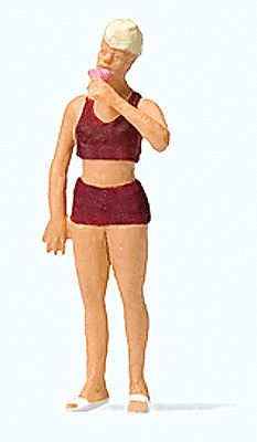 Preiser Woman Eating Ice Cream Model Railroad Figure HO Scale #28163