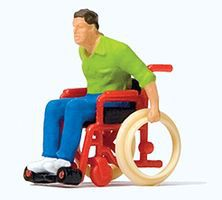 Preiser Man in Wheelchair Model Railroad Figure HO Scale #28164