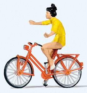 Preiser Look No Hands with Bicycle Model Railroad Figure HO Scale #28181