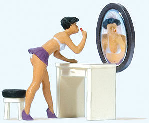 Preiser Putting On Make-Up HO Scale Figure #28206