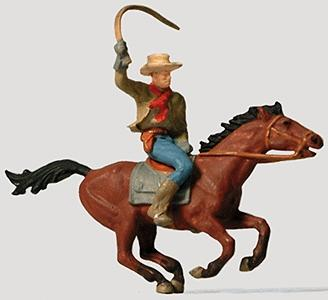 Preiser Kg Cowboy on Horse -- Model Railroad Figure -- HO Scale -- #29065