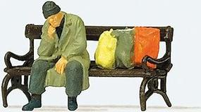 Preiser Homeless Man on Bench Model Railroad Figure HO Scale #29094