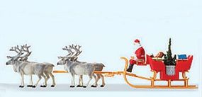Preiser Christmas Sleigh with Santa, Packages & 4 Reindeer HO Scale Model Railroad Vehicle #30399