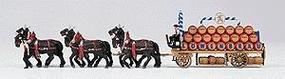 Preiser Horse-Drawn Beer Wagon with Horses Lowenbrau HO Scale Model Railroad Vehicle #30437