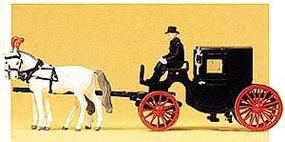 Preiser Horse-Drawn Closed Taxi with Three Figures HO Scale Model Railroad Vehicle #30452