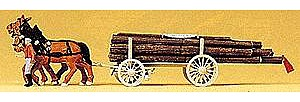 Preiser Kg Horse-Drawn Log Wagon with Driver & Load - HO-Scale -- HO Scale Model Railroad Vehicle -- #30465