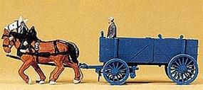 Preiser Horse-Drawn Ore Wagon with Driver & Horses HO Scale Model Railroad Vehicle #30468