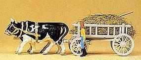 Preiser Ox-Drawn Hay Wagon with Driver & Load - Assembled - HO-Scale HO Scale Model #30472