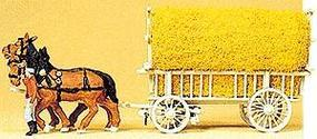 Preiser Horse-Drawn Hay Wagon with Driver & Load HO Scale Model Railroad Vehicle #30477