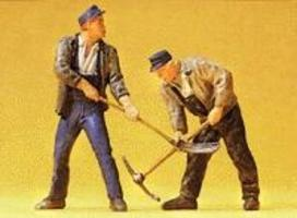 Preiser Track Workers with Pitchfork & Pick Ax Model Railroad Figures G Scale #45007