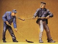 Preiser Construction Workers with Shovels Model Railroad Figures G Scale #45023