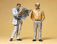 Preiser Man Reading Newspaper & Man Standing Model Railroad Figures G Scale #45079