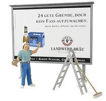 Preiser Worker On Ladder Putting Up Poster Model Railroad Figures G Scale #45126