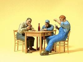 Preiser 3 Men Seated At Table Playing Cards Model Railroad Figures G Scale #45141