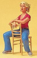Preiser Young Woman Seated with Chair Model Railroad Figures G Scale #45508