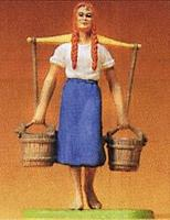 Preiser Milk Maid Carrying Pails Model Railroad Figure 1/25 Scale #47104