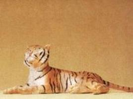 Preiser Tiger Lying Down Model Railroad Figure 1/25 Scale #47510