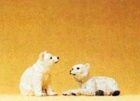 Preiser Polar Bear Cubs Model Railroad Figures 1/25 Scale #47523