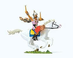 Preiser Elastolin Hun Warrior Drummer on Horseback Model Railroad Figure 1/25 Scale #50475