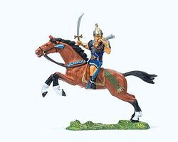 Preiser Elastolin Hun Warrior with Sword & Horn Model Railroad Figure 1/25 Scale #50477
