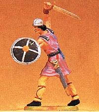 Preiser Norman Soldier Attacking with Sword & Shield #2 Model Railroad Figure 1/25 Scale #50933