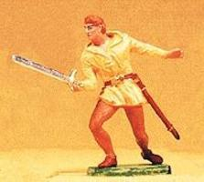 Preiser Norman Soldier Fighting with Sword Model Railroad Figure 1/25 Scale #51004
