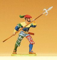 Preiser European Mercenary Advancing with Pike Model Railroad Figure 1/25 Scale #52309