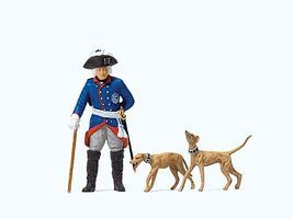 Preiser Elastolin Friederich II of Prussia with 2 Whippets Model Railroad Figure 1/25 Scale #54190