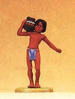 Preiser Young Indian Boy Carrying Clay Pot Model Railroad Figure 1/25 Scale #54603