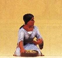 Preiser Native American Kneeling Woman with Bowl Model Railroad Figure 1/25 Scale #54615