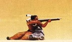 Preiser Native American Warrior Firing Rifle Model Railroad Figure 1/25 Scale #54617