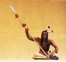 Preiser Native American Sitting Warrior with Lance Model Railroad Figure 1/25 Scale #54618