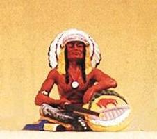 Preiser Native American Seated Chief with Rifle & Shield Model Railroad Figure 1/25 Scale #54622