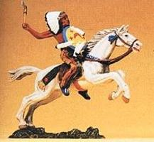 Preiser Mounted Indian Chief with Tomahawk & Shield Model Railroad Figure 1/25 Scale #54650